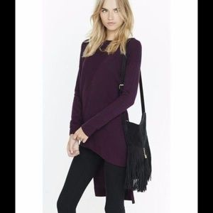 Express Ribbed Asymmetrical Hi-Lo Tunic Sweater XS